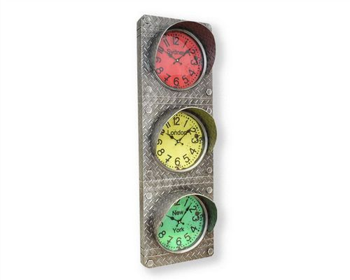 Industrial Iron Plated Traffic Light Clock